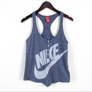Nike Gray Button Spellout Tank | S